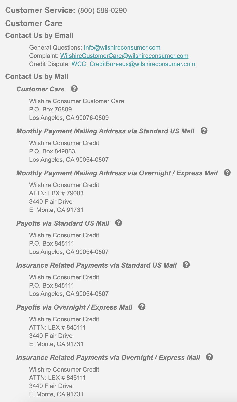 wilshire consumer credit mailing address